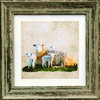 Irish Farm Animal Ewe and Lambs, Green, available in 3 other frame colours